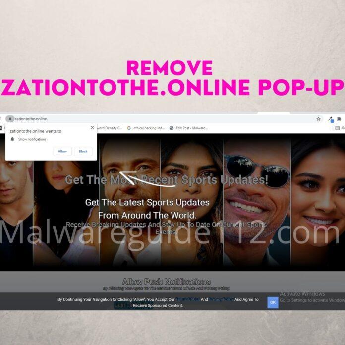Remove Zationtothe.online Pop-up